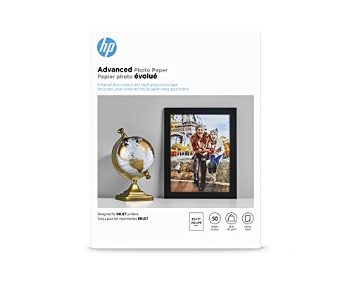 HP Glossy Advanced Photo Paper for Inkjet, 8.5 x 11 Inches