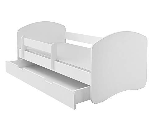 Kinderbett Jugendbett mit einer Schublade und Matratze Weiß ACMA II (180x80 cm + Schublade, Weiß)