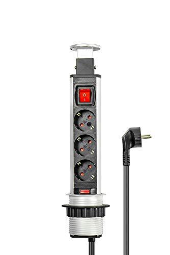 Pop-Up Stekkerdoos, 3-voudig, inschuifbare stekkerdoos, schakelaar, aluminium profiel, 3 x veiligheidscontact