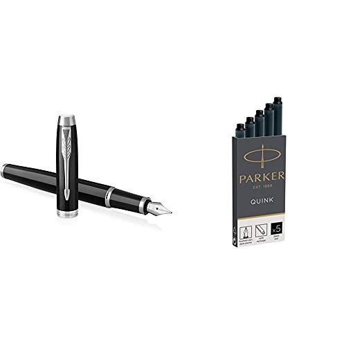 PARKER IM, pluma estilográfica lacada en negro con adorno cromado, plumín fino...