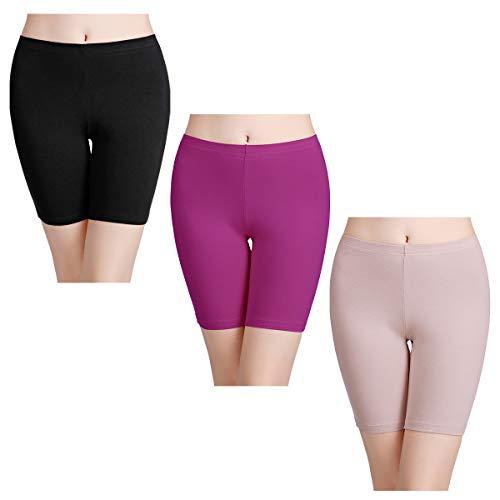 wirarpa Unterhosen Radlerhose Boxershorts Damen Hoher Bund Baumwolle Shorts Panties Lange Unterwäsche 3er Pack Größe XL