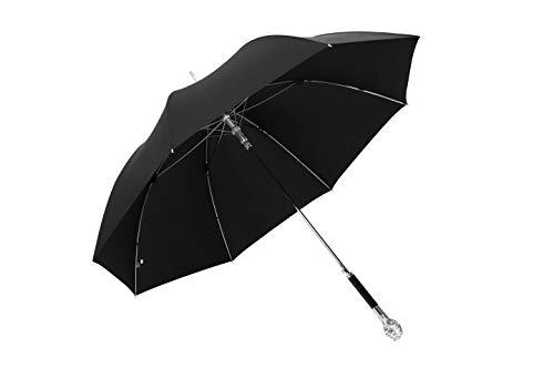 Premium QUALITÄT Sturmfest groß XXL Herren Regenschirm Automatik schwarz Stockschirm, Schwarz für 2 Personen Windfest 110cm Durchmesser und 97cm Länge mit hochwertigen Stoff und Löwenkopf Motiv Griff