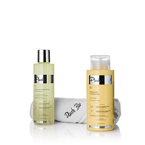 Plush luxuryBIOcosmetics - Set with 2 products Orange Tangerines + one towel gift - make-up removal, cleansing, toning, detoxifying - skin types: oily, mixed