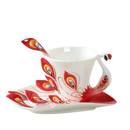 Haohaojia Coffee Mugs Ceramic Coffee Cup,Ceramic Peacock Cup Coffee Cup,Floral Mugs Flower Mugs with dish spoon for Coffee, Cappuccino, Mocha, Tea Peacock(Red)