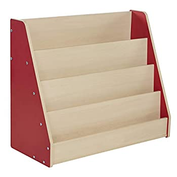 Factory Direct Partners-11941 Colorful Essentials Big Book Display Stand Laminate Storage Shelf for Kid s Books Children s Furniture for Bedroom Playroom Daycare or Classroom - Maple/Red