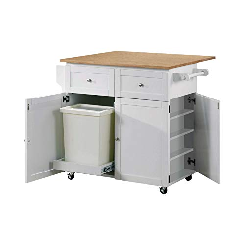 Where To Buy White Rolling Extendable Kitchen Island With