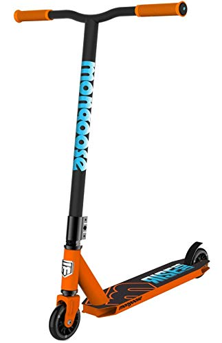 Mongoose Rise 100 Youth and Adult Freestyle Kick Scooter, High Impact 110mm Wheels, Bike-Style Grips, Lightweight Alloy Deck, Orange/Blue, One Size Hawaii