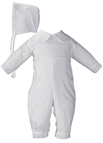 Hand Smocked Pin Tucked, Long Sleeve, Long Pant Christening Baptism Coverall, 18 Month White