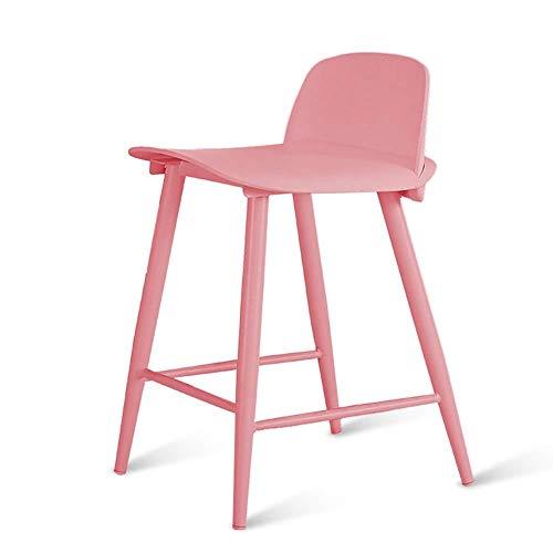 Barkruk van metaal, onderstel van rugleuning, stoel hoog, eettafel, eenvoudig gebruik thuis en stoelen, Cafetteria stoel voor woonkamer, hoog zitvlak 60 cm (geel) PINK