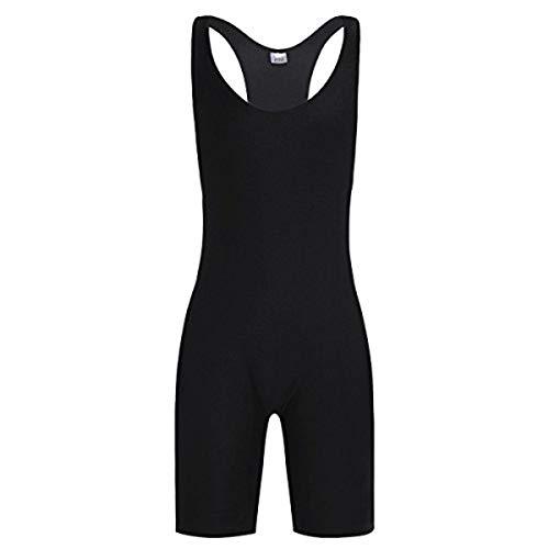iEFiEL Herren Body Bodysuit Einteiler Overall Slim Fit Männerbody Stringer Unterhemd Unterwäsche mit langem Bein Schwarz XL
