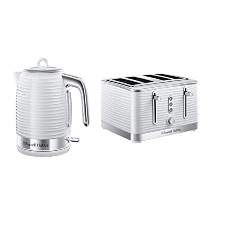 Russell Hobbs Inspire White Kettle and Toaster Set, 1.7 Litre Cordless Electric Kettle and Four Slice Toaster