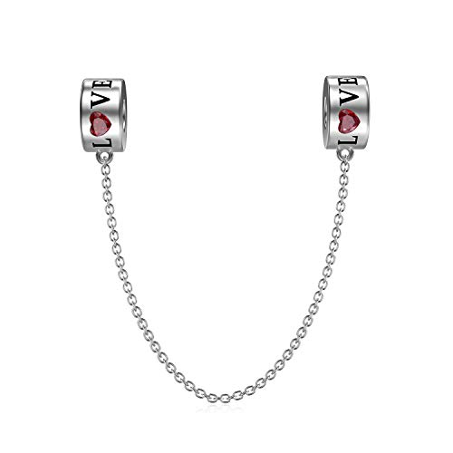 Love Charms 925 Sterling Silver Safety Chain Beads Charm for Women's Bracelets