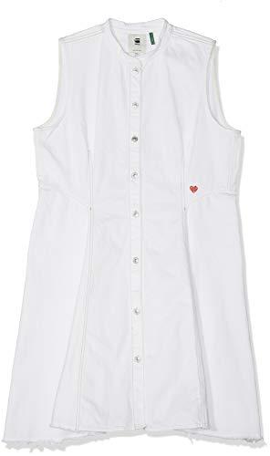 G-STAR RAW Damen Bristum Slim Flare Fringe Dress s/Less Kleid, Blau (Lt Aged 424), Large (Herstellergröße:L)