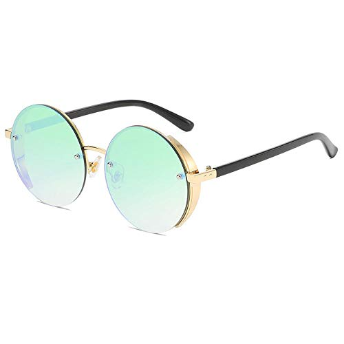 hqpaper Gafas de sol de tendencia europeas y americanas con montura redonda, gafas de sol de moda para mujer, gafas redondas, película Golden_Green