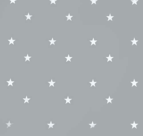Mantel de hule, rectangular 140 x 180cm Estrellas, gris claro