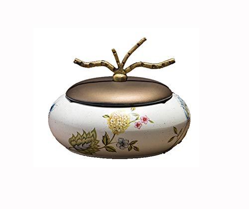 DZTIZI Cenicero de para Exterior con Tapa, de cerámica, antiolor, para Mesa de café, pequeño decoración, apartamento, Dormitorio, balcón,C