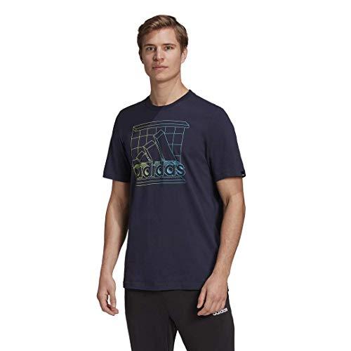 adidas Retro Media Logo Camiseta, Azul Oscuro, M para Hombre