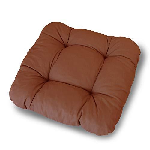 LILENO HOME 6er Set Stuhlkissen Braun (38x38x8 cm) - Sitzkissen für Gartenstuhl, Küche oder Esszimmerstuhl - Bequeme UV-beständige Indoor u. Outdoor Stuhlauflage als Stuhl Kissen