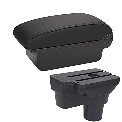 Reposabrazos de coche para Hyundai Solaris 2013 2014 2015 2016 para VERNA Accent Car Reposabrazos Box Almacenamiento USB LED Consola central (color C2 línea negra no USB)