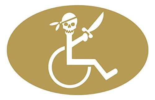 【全16色】車椅子マーク/車イス サイン/カー ステッカー/Car/スカル/ドクロ/車用/シール/ Vinyl/Decal /バイナル/デカール/-3A (ゴールド) [並行輸入品]