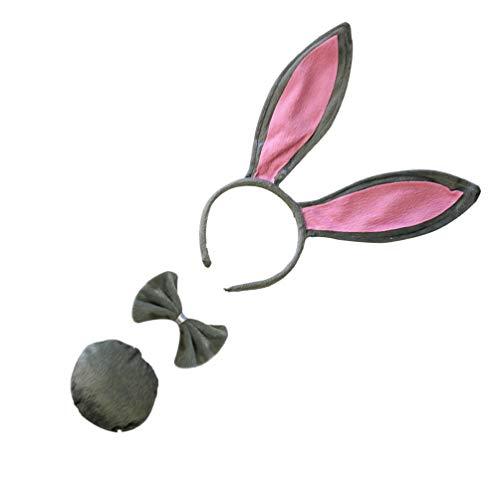 ABOOFAN Kaninchen Kostüm Set Hasenohren Haarreif Fliege Schwanz Plüsch Ohren Haarband Grau Ostern Frühling Karneval Fasching Party Maskerade Tier Cosplay Foto Requisiten