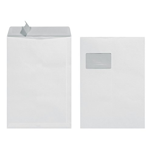Herlitz Versandtasche C4 90 g Haftklebend mit Fenster, 10 Stück mit Innendruck in Folienpackung, eingeschweißt, weiß
