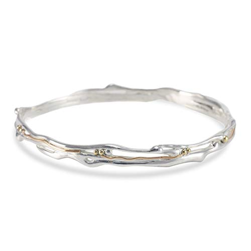 Banyan Jewellery Women's 925 Sterling Silver and 14ct Gold Organic Bangle