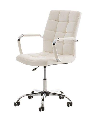 Mendler Sedia Poltrona da Ufficio CP294 Ecopelle Design Moderno 59x54x92-101cm Bianco