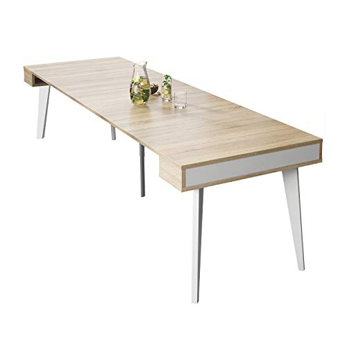 SelectionHome - Mesa de Comedor, Salon, Consola Extensible, Modelo Nordic, Acabado en Color Blanco Mate y Roble Cepillado, Medidas: 54/239,6 cm (Largo) x 90 cm (Ancho) x 79 cm (Alto)
