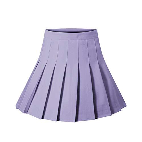 Women High Waisted Plain Pleated Skirt Girl Mini Skirt School Uniform A-line Skater Tennis Mini Skirt Lining Shorts (Light Purple, XL)
