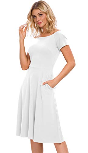 Afibi Womens Off The Shoulder Short Sleeve Cocktail Party Dresses (Medium, White)