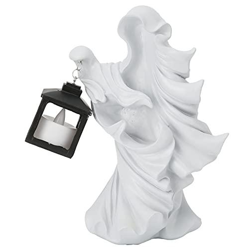 Jopwkuin Halloween Ornament + LED Laterne, Gartenlampe Naturharz Hexenskulptur Statue Laterne Ca. 14x10x20cm für Thanksgiving/Weihnachten/Festival Dekorationen(Weiß)