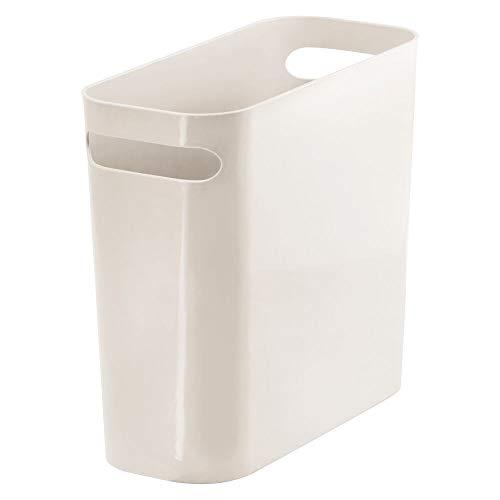 "mDesign Slim Plastic Rectangular Small Trash Can Wastebasket, Garbage Container Bin with Handles for Bathroom, Kitchen, Home Office, Dorm, Kids Room - 10"" High, Shatter-Resistant - Cream/Beige"