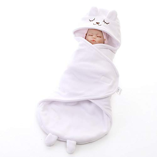 MOMIN-HM Baby-Schlafsack Nette Neugeborene Baby-Mädchen-Decke Plüsch Swaddle Decken Babyparty-Geschenke für Säuglingskleinkind (Farbe : Weiß, Größe : 73X35cm)