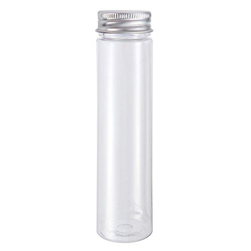 UKCOCO 10 PCS Tubes à essai à fond plat en plastique transparent avec capsules à vis Candy Containers à cosmétiques à voyage 110 ml