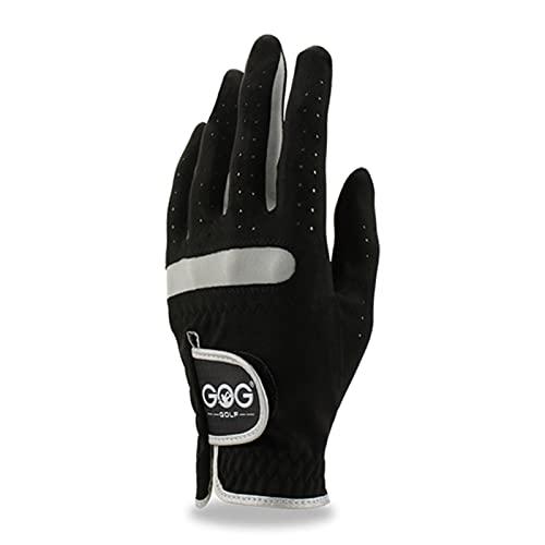 Zhicai Pack 1 st Mäns Golfhandske Vänster Höger Höger Micro Soft Fiber Andningsbara Non-Slip Golf Handskar Män Färg Svart Golfhandskar (Color : Worn on left hand, Size : 25 Large)
