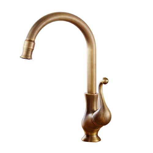 BH-JJSMGS,Grifo antiguo del fregadero del cuarto de baño de la cocina de latón, agua retro fría y caliente mezclada agua antigua cepillada sola manija del lavabo del baño