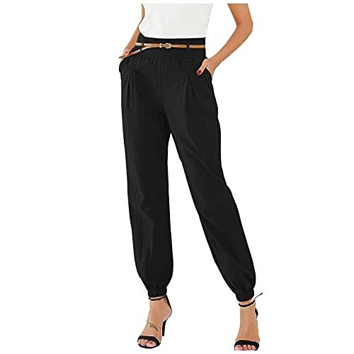 Pantalones Mujer de Color Sólido con Bolsillos Laterales Pantalon Mujer Suelta Casual Pantalón Mujer Moda con Cinturón Pantalones de Mujer Informal Vida Diaria,Trabajo,Ocio