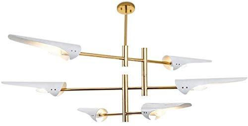 8-luces E14 Industrial Sputnik Lámpara de araña, lámpara de lujo creativa de metal con brazo ajustable, decoración Lámpara colgante para cafetera Sala de estar Negro 8 luces