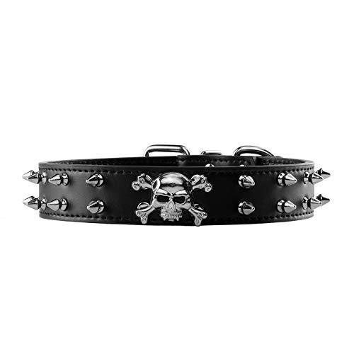 Filhome Punk Hundehalsband PU Leder Schädel Totenkopf Haustierhalsband Nieten Gotik Halsband Hund Katze Lederhalsband Schwarz M