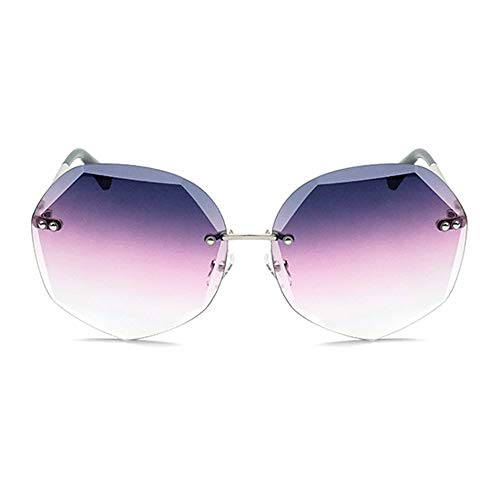 WHSS Gafas de Sol Europa Y América Gafas De Sol con Corte De Cristal Moda Mujer Gafas Polígono UV400 Protección Marco De Plata Púrpura Rosa Degradado Lente
