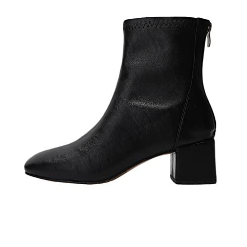 Stivaletti da donna Autunno e inverno moda in pelle accogliente Zip Block Heel Square head Comodo tenere al caldo le scarpe da esterno antiscivolo
