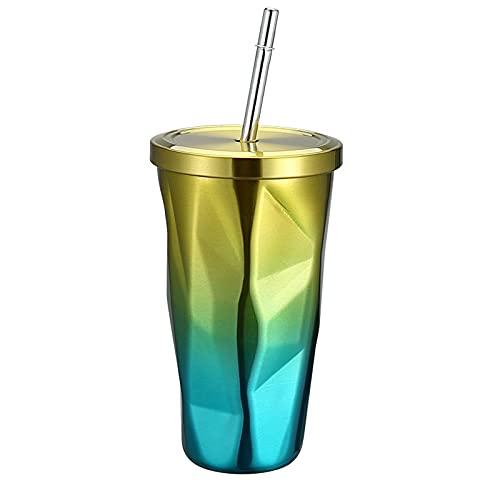 QIANJINGCQ Taza de paja con forma de diamante de acero inoxidable de doble capa taza de aislamiento al vacío taza de café de paja gradiente taza de agua
