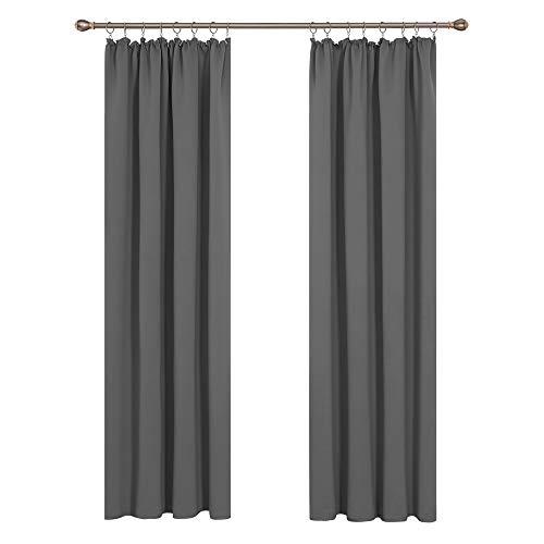 Deconovo Thermovorhang Gardinen verdunklungsvorhänge mit Kräuselband 290x140 cm Hellgrau 2er Set