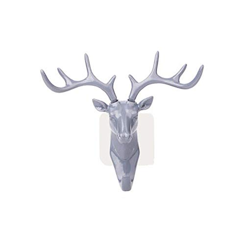 CTOBB Self Adhesive Hook Wall Deer Head Hook For Hanging Clothes Hat Scarf Key Deer Horns Hanger Rack Wall Decoration Bag Keys Sticky,Gray,Russian Federation