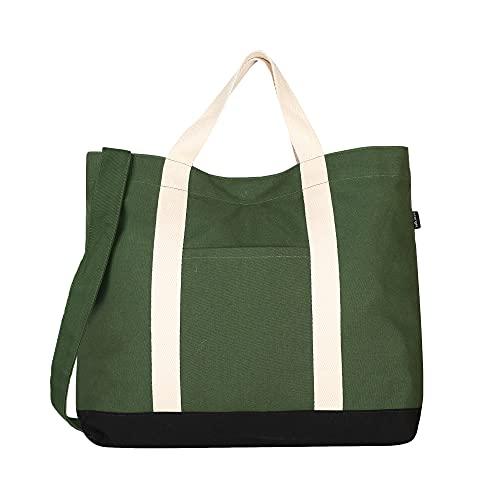 EcoRight, borsa per la spesa da donna, ecologica, riutilizzabile, grande, borsa da viaggio, borsa da uomo per lavoro, alimentari, università, Verde, Taglia unica