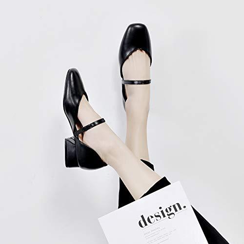Shukun dames sandalen groot formaat sandalen vrouw met baotou dikke met vierkant hoofd Romeinse schoenen brede voeten persoonlijkheid grote Upscale
