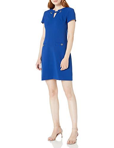 Tommy Hilfiger Women's Legacy Scuba Crepe Two Pocket Dress, Marina Blue, 8