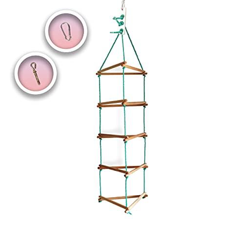 Kletterwand mit 3 stabilen SeilenStrickleiter, Spielzeug, belastbar bis 60 kg, Kinder Indoor - Outdoor Kletterleiter mit 5 Sprossen aus Holz, Klettergerüst, Kletterwand, ab 3 Jahre