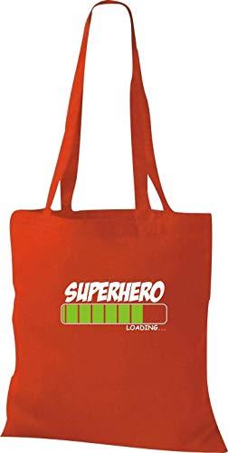 Shirtinstyle Bolsa de Tela Bolsa de Algodón Super Heroe Loading - Rojo, 38 cm x 42 cm
